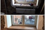 Установка деревянного подоконника из Карагача.