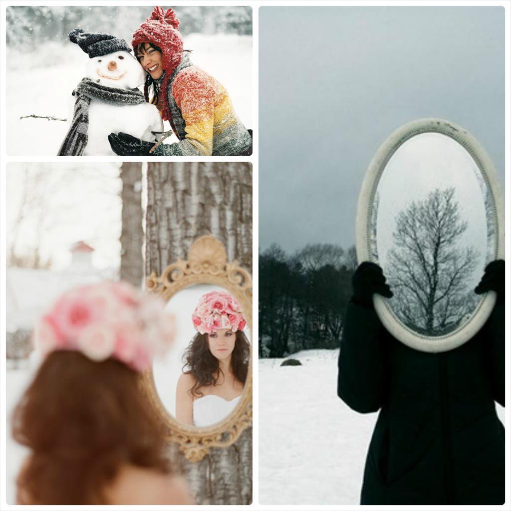 фотосессия в снегу в платье